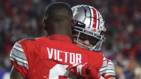Ohio State receivers Austin Mack and Bin Victor