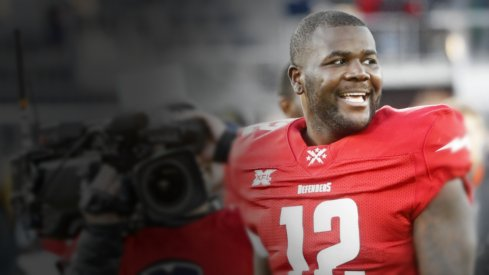 Feb 8, 2020; Washington, DC, USA; DC Defenders quarterback Cardale Jones (12) smiles while leaving the field after the Defenders game against the Seattle Dragons in an XFL football game at Audi Field. Mandatory Credit: Geoff Burke-USA TODAY Sports