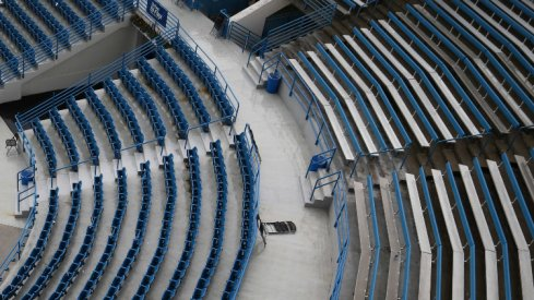 Aug 11, 2018; Mason, OH, USA; A view of empty seats at center court as rain falls and play is stopped due to weather in the Western and Southern tennis open at Lindner Family Tennis Center. Mandatory Credit: Aaron Doster-USA TODAY Sports