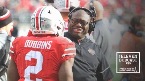 Ohio State running backs coach Tony Alford with former Ohio State running back J.K. Dobbins