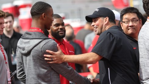 Ryan Day with 2022 recruit C.J. Hicks