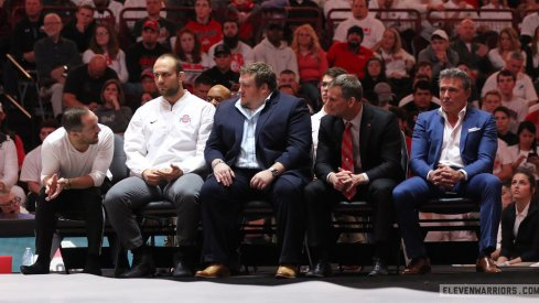 Ohio State's coaching staff: J Jaggers, Tervel Dlagnev, Anthony Ralph and Tom Ryan (l to r)