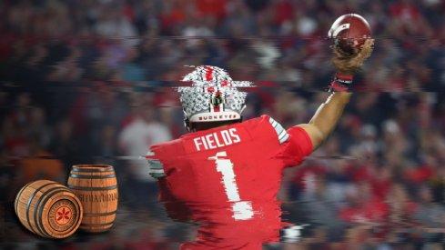 Dec 28, 2019; Glendale, AZ, USA; Ohio State Buckeyes quarterback Justin Fields (1) against the Clemson Tigers during the 2019 Fiesta Bowl college football playoff semifinal game at State Farm Stadium. Mandatory Credit: Mark J. Rebilas-USA TODAY Sports