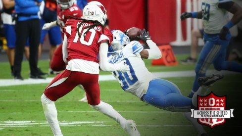 Jeff Okudah makes his first NFL interception.