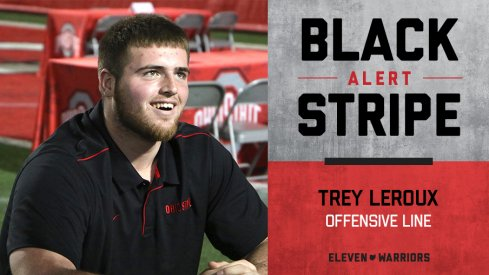Trey Leroux sheds his stripe.