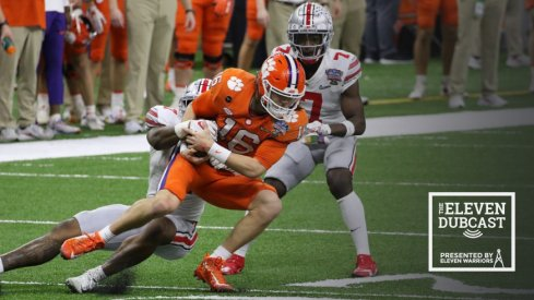 Clemson's Trevor Lawrence gets tackled in the Sugar Bowl against Ohio State