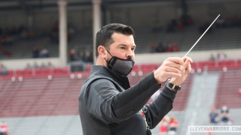 Ryan Day conducting the band prior to the 2021 Ohio State spring game