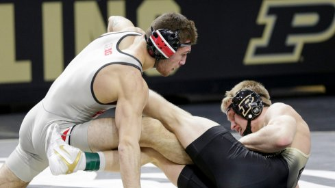 Dylan D'Emilio wrestles at Purdue in February 2021
