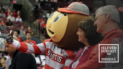 Brutus Buckeye with some fans