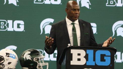 Michigan State head coach Mel Tucker at the 2021 Big Ten Media Days
