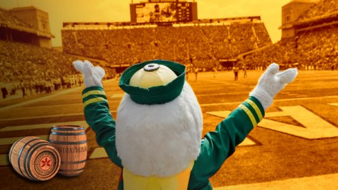 The Oregon Ducks mascot stand behind the endzone during the fourth quarter of the NCAA football game against the Ohio State Buckeyes at Ohio Stadium in Columbus on Saturday, Sept. 11, 2021. The Ducks won 35-28.