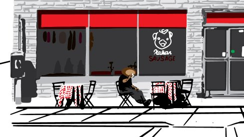 Brutus grabs an espresso in the Garden State in this week's game poster.
