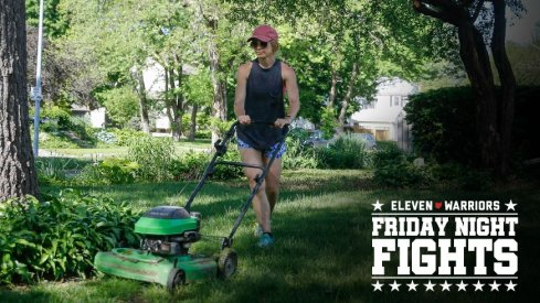 Chrystal Wuertz mows the front yard of her home in Des Moines on Wednesday, May 26, 2021. Several days of steady precipitation has brought much-needed rain across Iowa, improving the drought conditions
