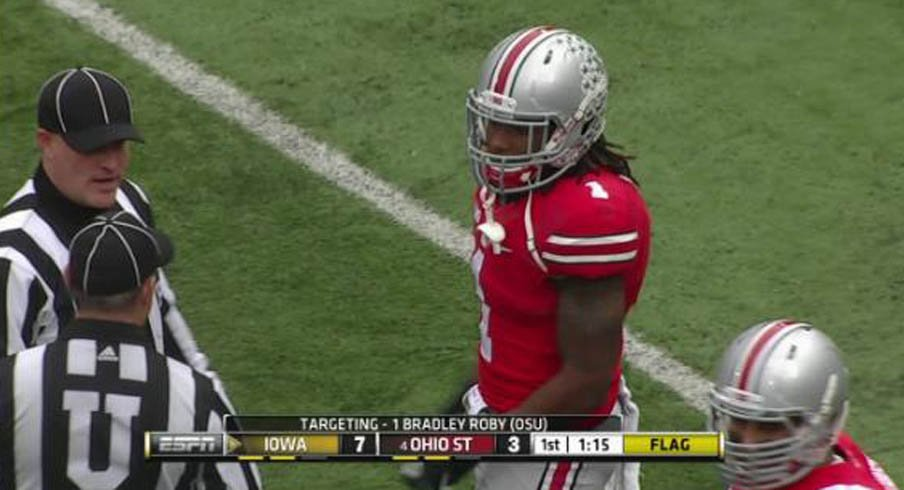 Bradley Roby was ejected for targeting in the Iowa game.