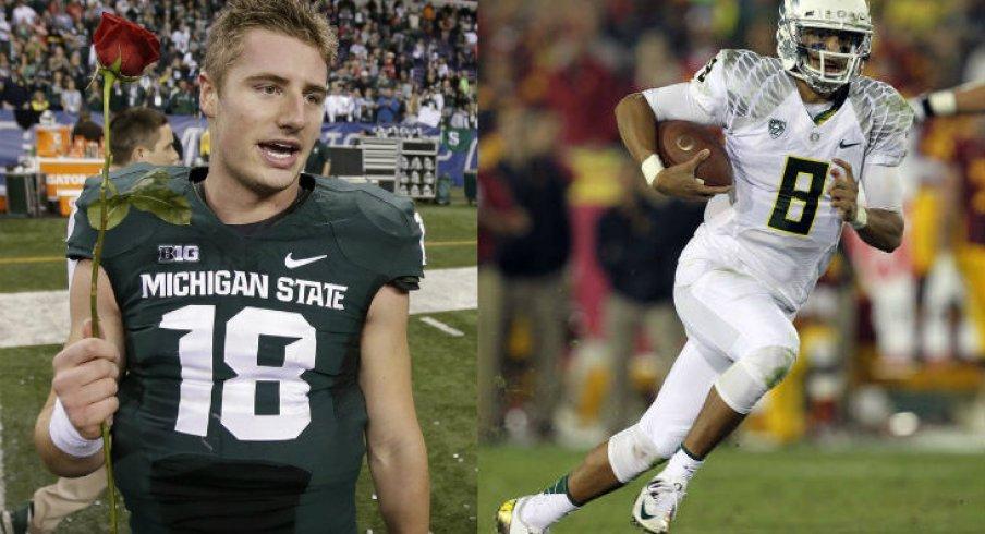 Connor Cook versus Marcus Mariota: the battle of alliterative quarterbacks.