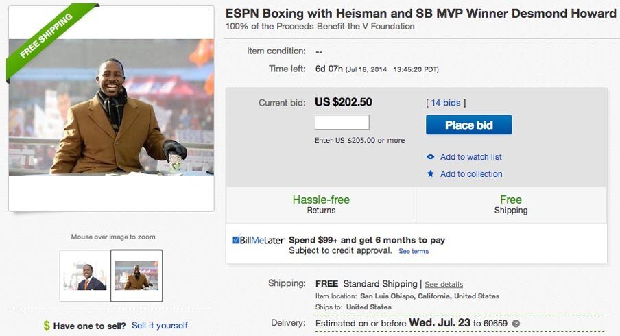 Bid now in an auction to box with Desmond Howard.