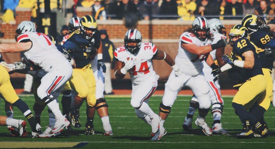 Carlos Hyde rips off yardage against Michigan running Ohio State's tight inside zone run.