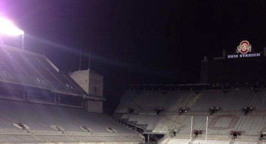 The new permanent lights at Ohio Stadium were turned on for the first time Wednesday night.