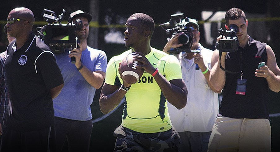 Five-star dual-threat quarterback Torrance Gibson is in Columbus visiting Ohio State.