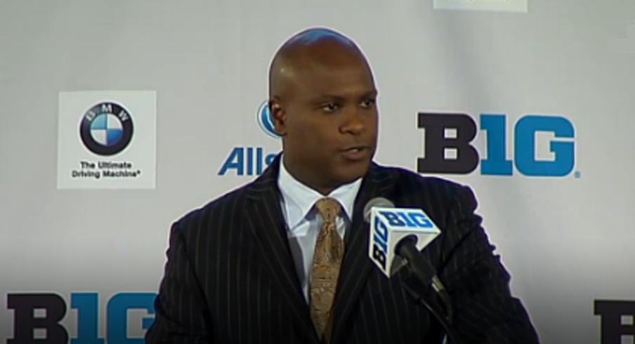Purdue head coach Darrell Hazell at Big Ten Media Days