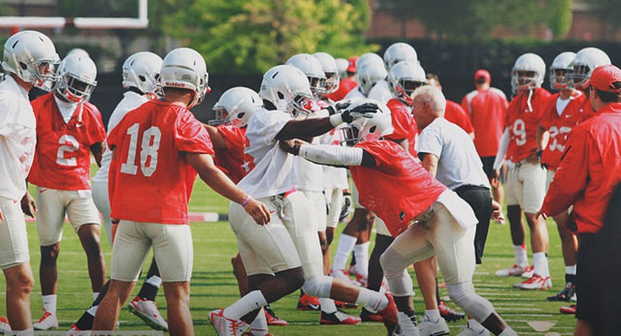 Wide receiver drills at the first practice of Ohio State's fall camp.