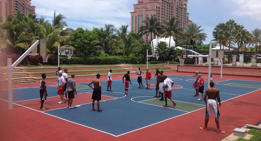 The Ohio State basketball team practices outside of the Atlantis resort in the Bahamas.