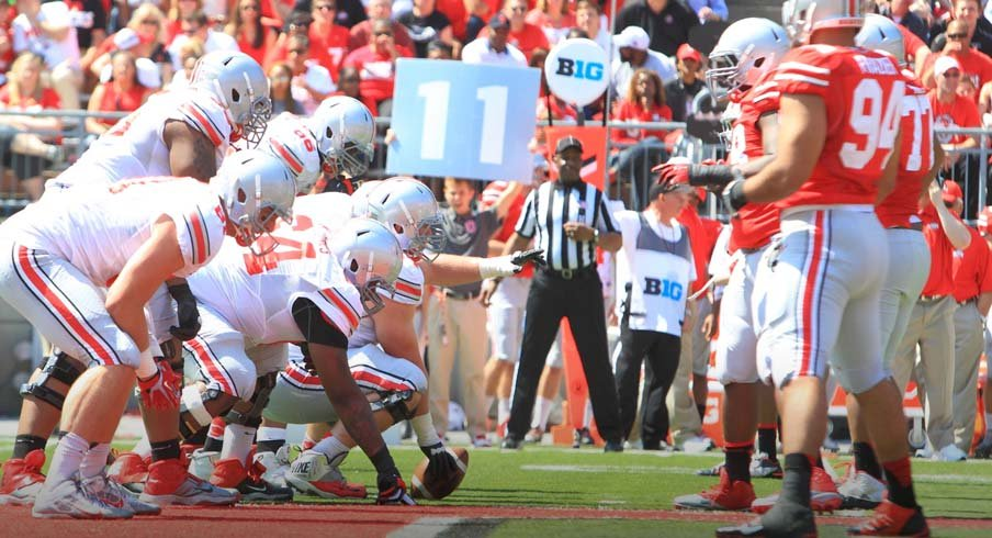 big sale 7310c 45528 Ohio State will start the season with four fresh faces on the offensive line .