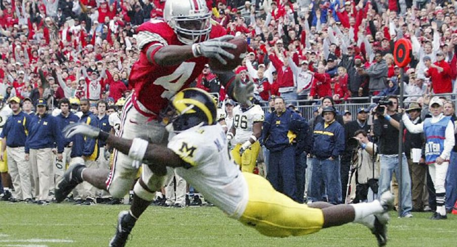 Santonio Holme scores against Michigan in the 2004 upset.