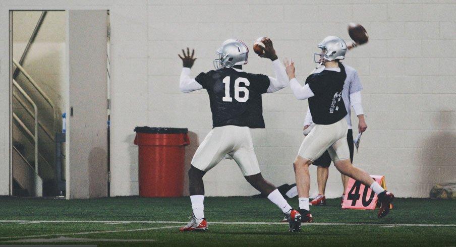 Ohio State quarterback J.T. Barrett warming up during spring practice.