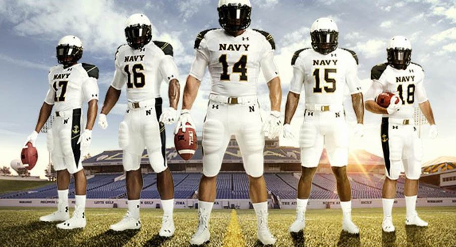 The all-white uniforms Navy will wear against Ohio State Saturday.