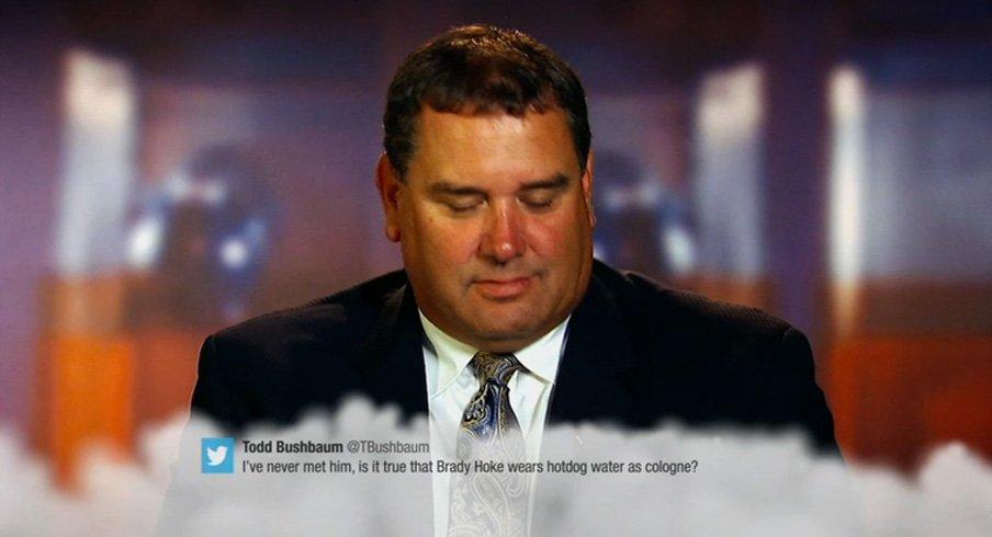Brady Hoke finally reveals whether he wears hot dog water as cologne.