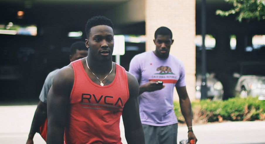 Noah Spence arriving at Ohio State's fall camp.