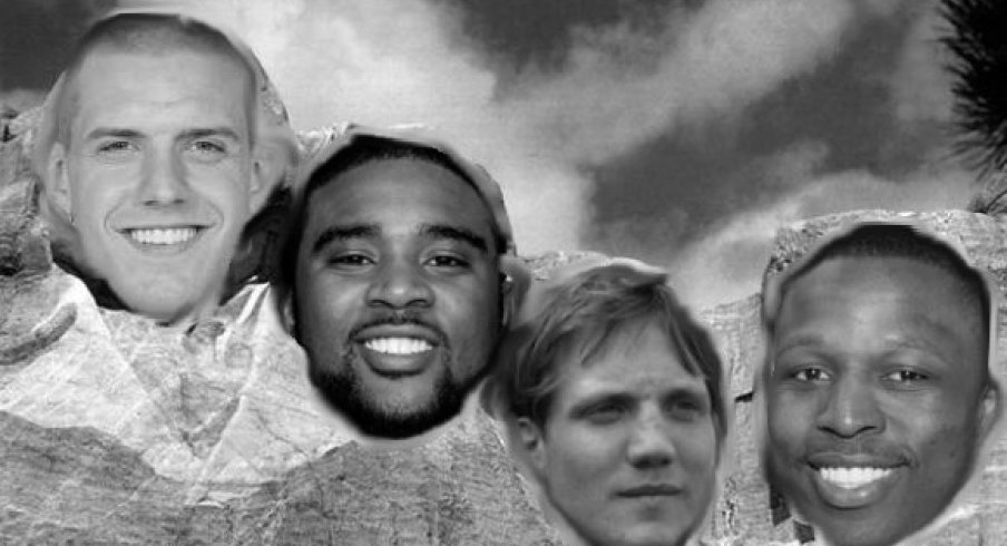 Mount Buckmore for the 2000s features James Laurinaitis, Troy Smith, A.J. Hawk and Mike Doss.