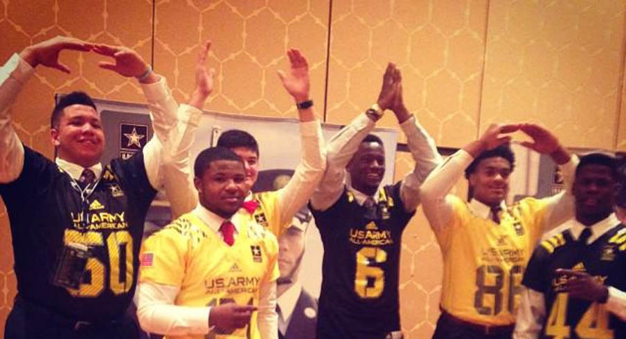 Ohio State commitments rocking an O-H-I-O prior to the U.S. Army All-American Bowl in San Antonio