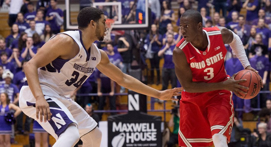 Ohio State guard Shannon Scott sets for a play at Northwestern.