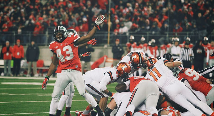 Darron Lee celebrates after a fumble recovery.