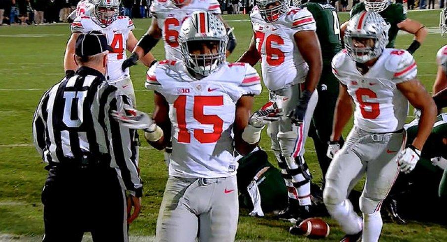 Ezekiel Elliott does the Bosa shrug after scoring a touchdown against Michigan State.