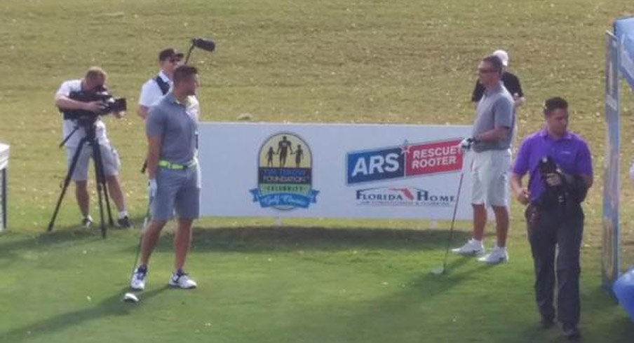Urban Meyer and Tim Tebow at Tebow's Celebrity Golf Classic Saturday