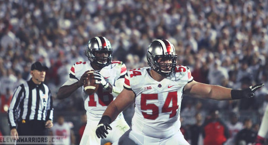 Billy Price protects J.T. Barrett against Penn State
