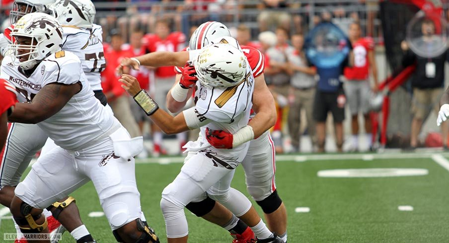 Joey Bosa hits Zach Terrell.