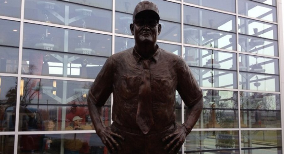 Wayne Woodrow Hayes statue installed outside the WHAC.