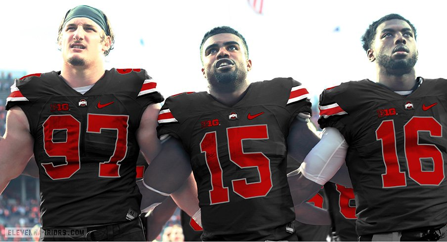 A mockup of the black uniforms Ohio State will wear against Penn State