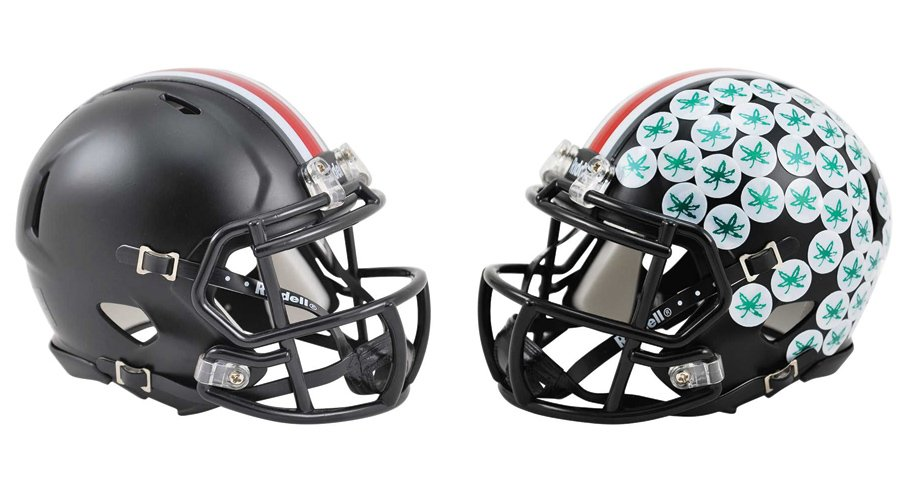 """Here's the first clean look we have at the """"Dark Night"""" helmets Ohio State will wear against Penn State."""