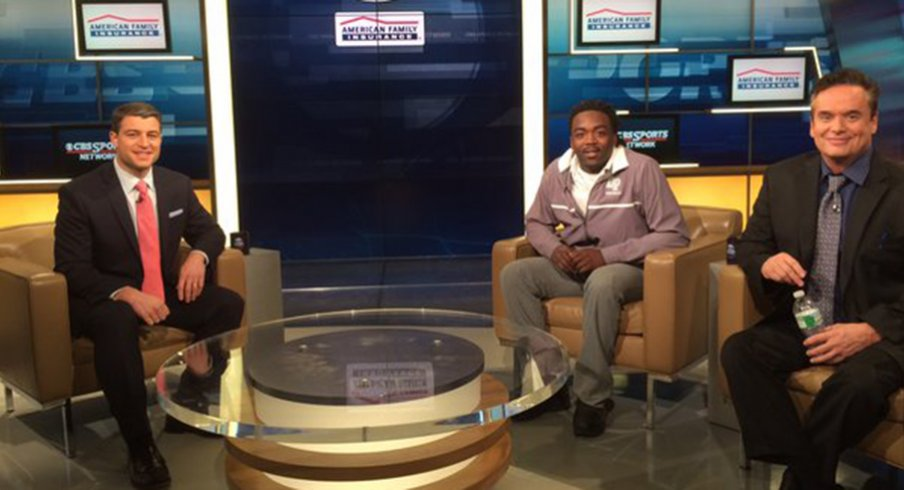 Kareem Walker on the set of Tom Lemming's television show.