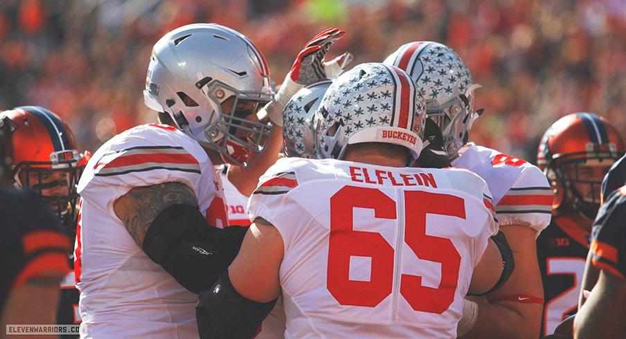 Ohio State celebrates a touchdown against Illinois.