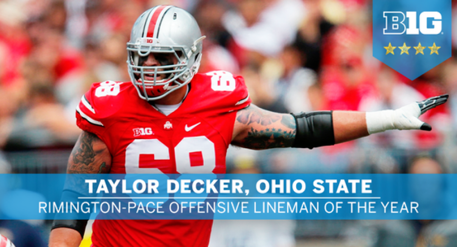 Ohio State's Taylor Decker was named the 2015 Big Ten Offensive Lineman of the year Tuesday.