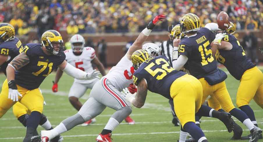 Joey Bosa works over Michigan's offensive line.