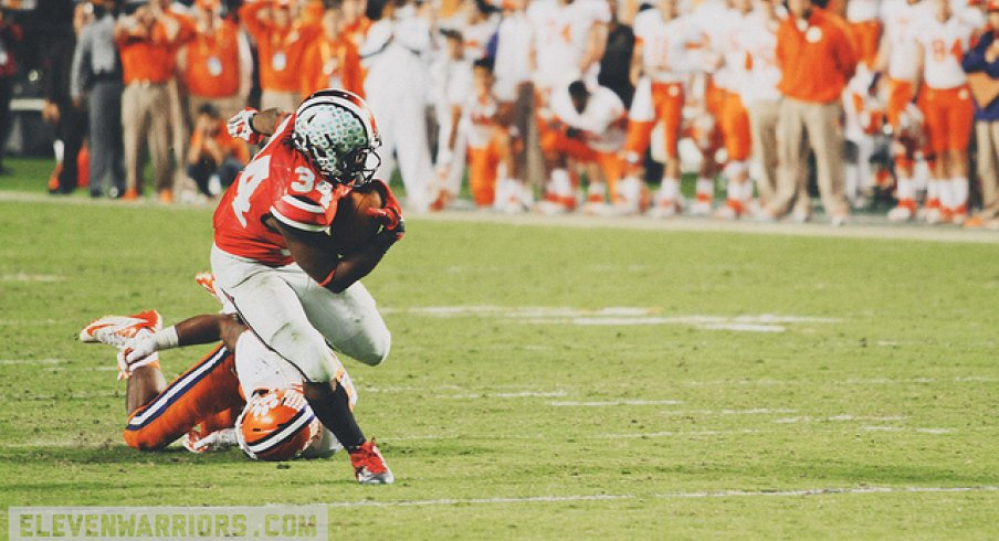 Carlos Hyde rumbling and stumbling to the endzone.
