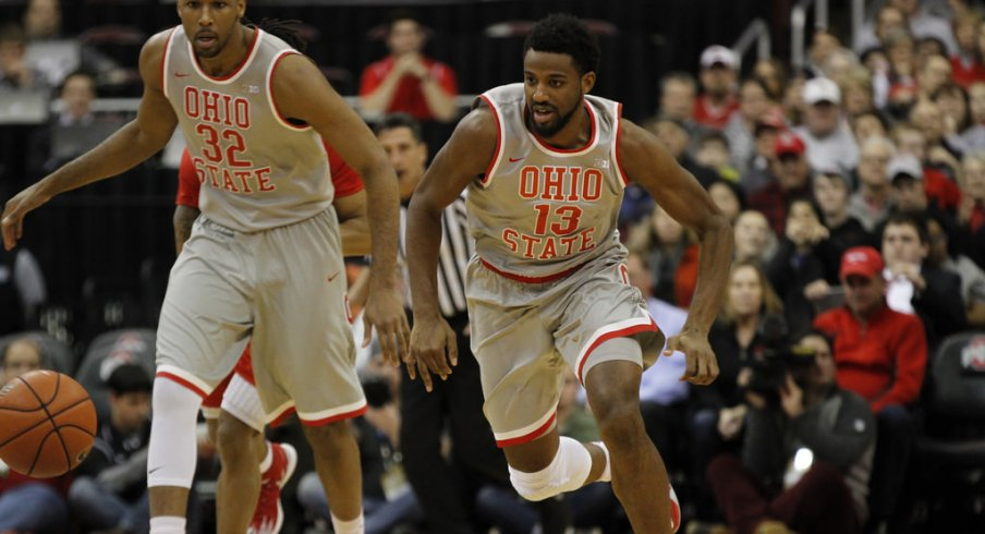 JaQuan Lyle leads the chase to a loose ball in their win over Rutgers.