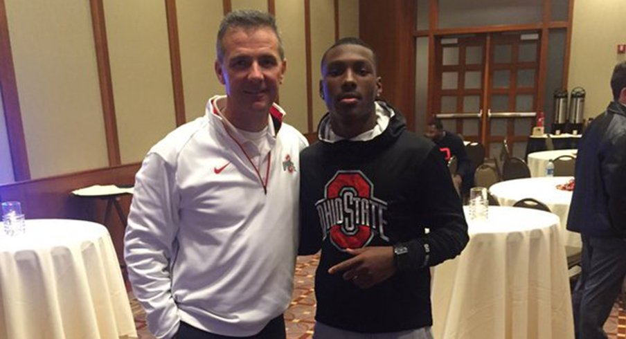 Urban Meyer and Mecole Hardman during the five-star's official visit last weekend.
